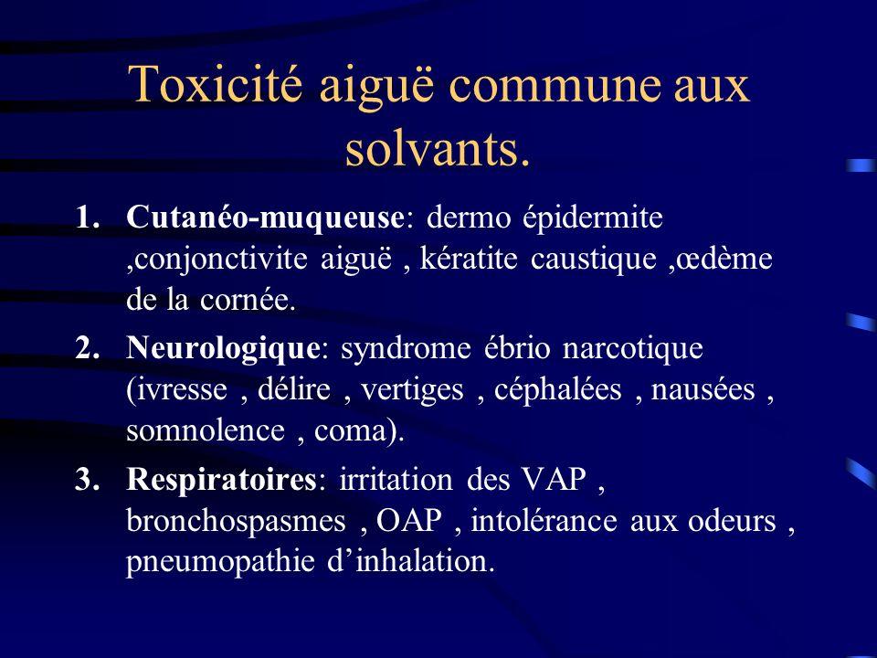 Toxicité aiguë commune aux solvants.