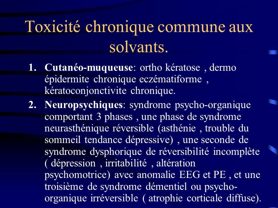 Toxicité chronique commune aux solvants.