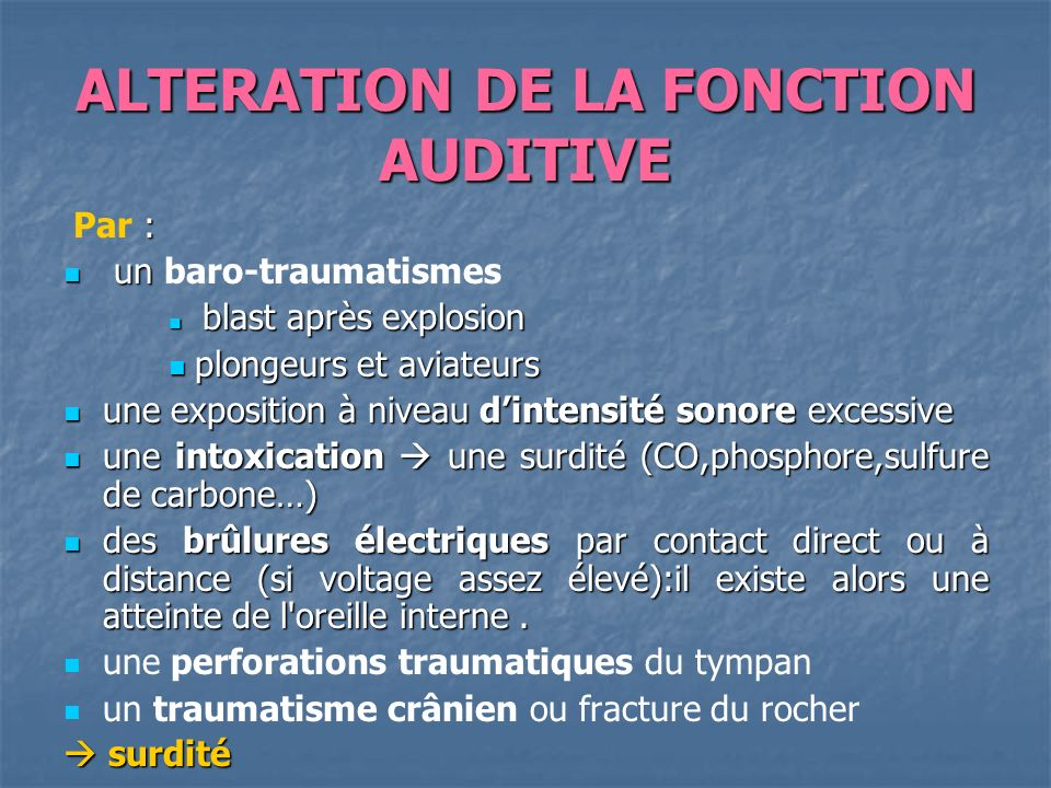 ALTERATION DE LA FONCTION AUDITIVE