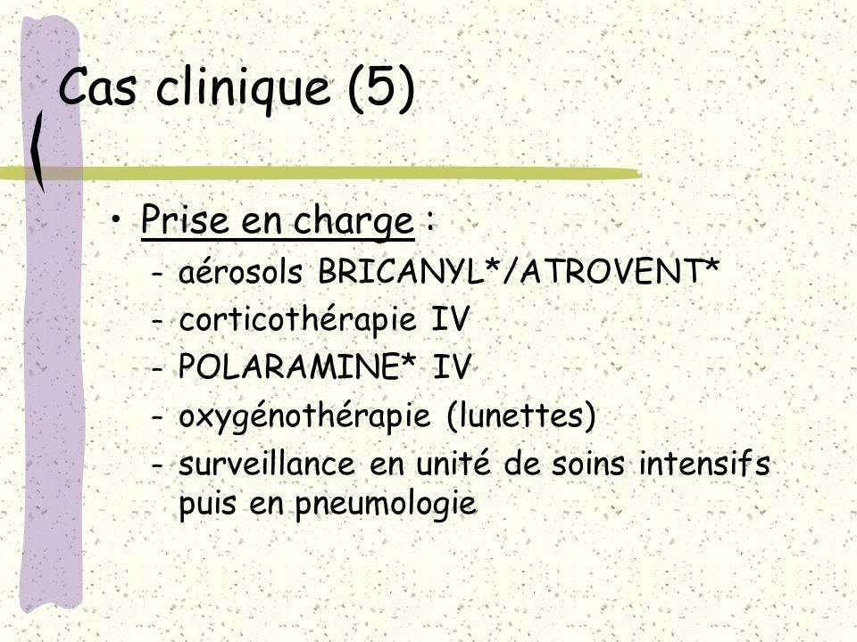 Cas clinique (5) Prise en charge : aérosols BRICANYL*/ATROVENT*