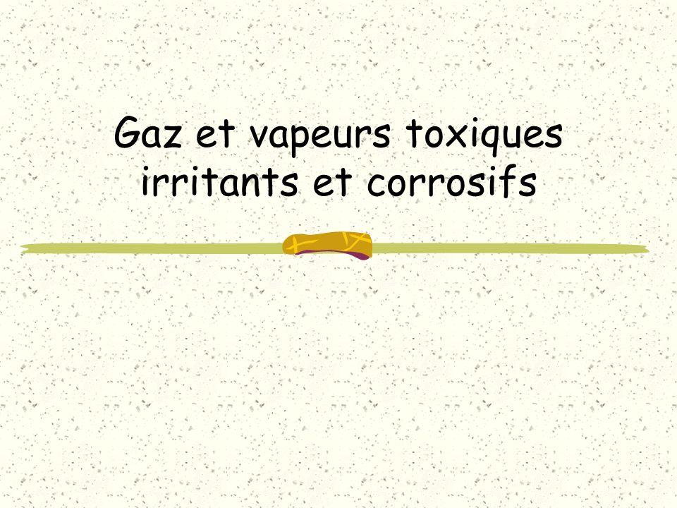 Gaz et vapeurs toxiques irritants et corrosifs