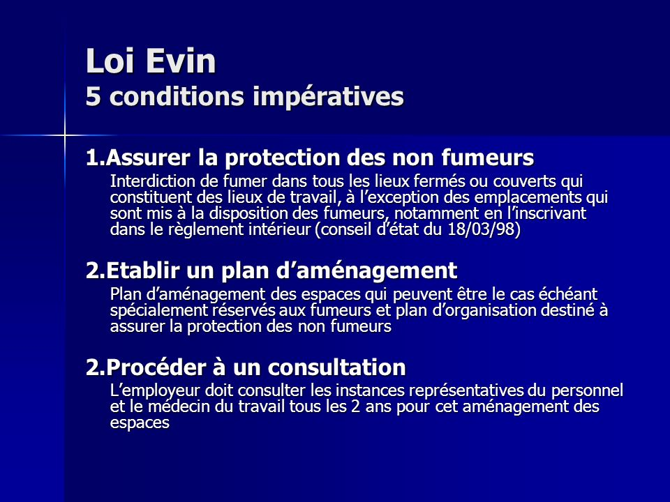 Loi Evin 5 conditions impératives