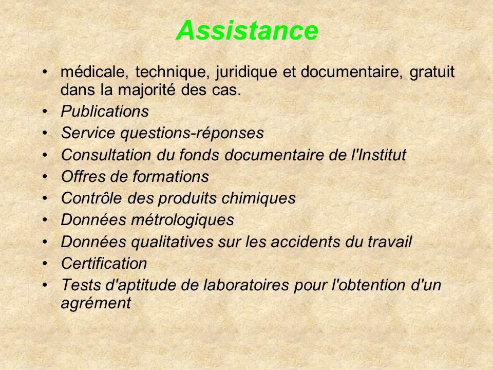 Assistancemédicale, technique, juridique et documentaire, gratuit dans la majorité des cas. Publications.