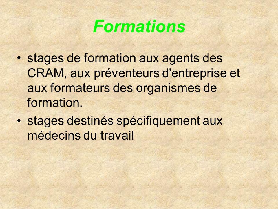 Formations stages de formation aux agents des CRAM, aux préventeurs d entreprise et aux formateurs des organismes de formation.