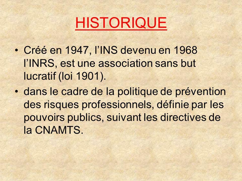 HISTORIQUE Créé en 1947, l'INS devenu en 1968 l'INRS, est une association sans but lucratif (loi 1901).
