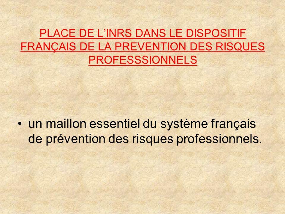PLACE DE L'INRS DANS LE DISPOSITIF FRANÇAIS DE LA PREVENTION DES RISQUES PROFESSSIONNELS
