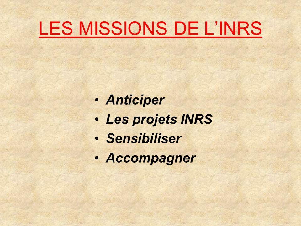 LES MISSIONS DE L'INRS Anticiper Les projets INRS Sensibiliser