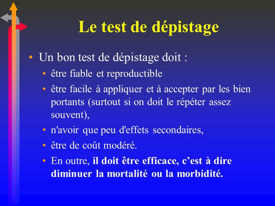 Le test de dépistage Un bon test de dépistage doit :