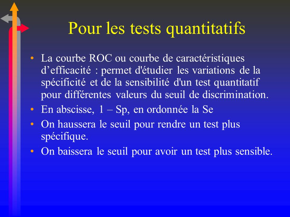 Pour les tests quantitatifs
