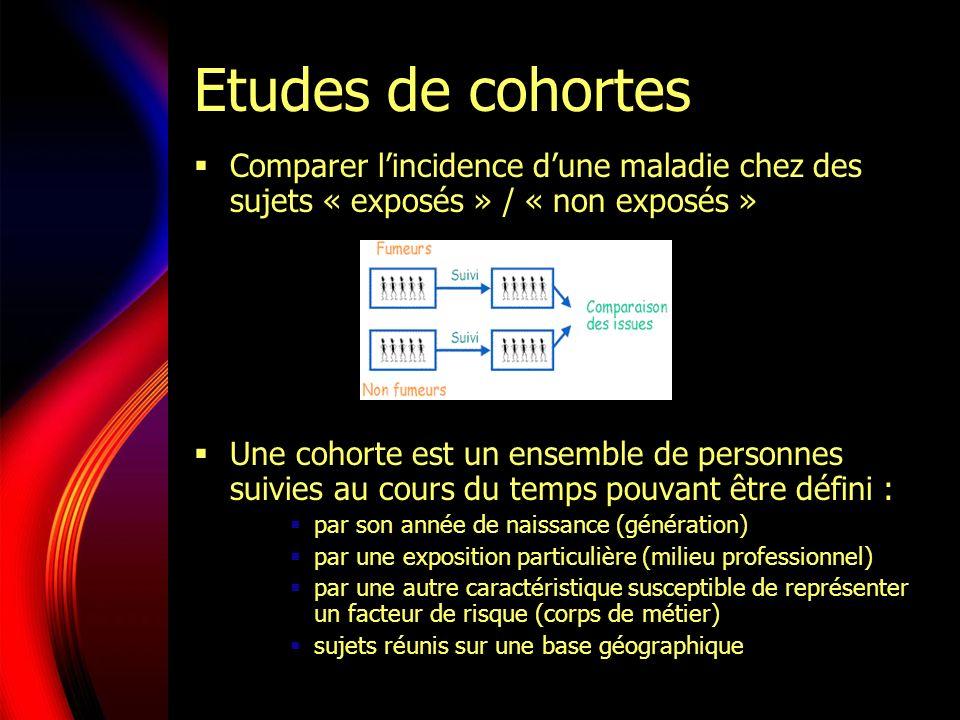 Etudes de cohortes Comparer l'incidence d'une maladie chez des sujets « exposés » / « non exposés »