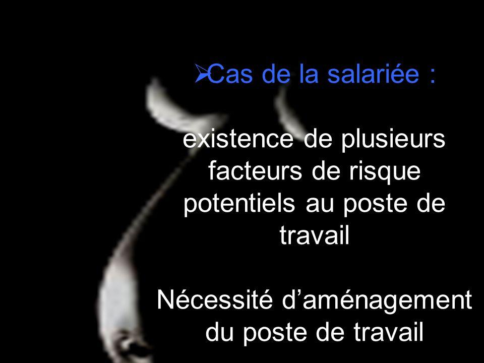 Cas de la salariée : existence de plusieurs facteurs de risque potentiels au poste de travail Nécessité d'aménagement du poste de travail