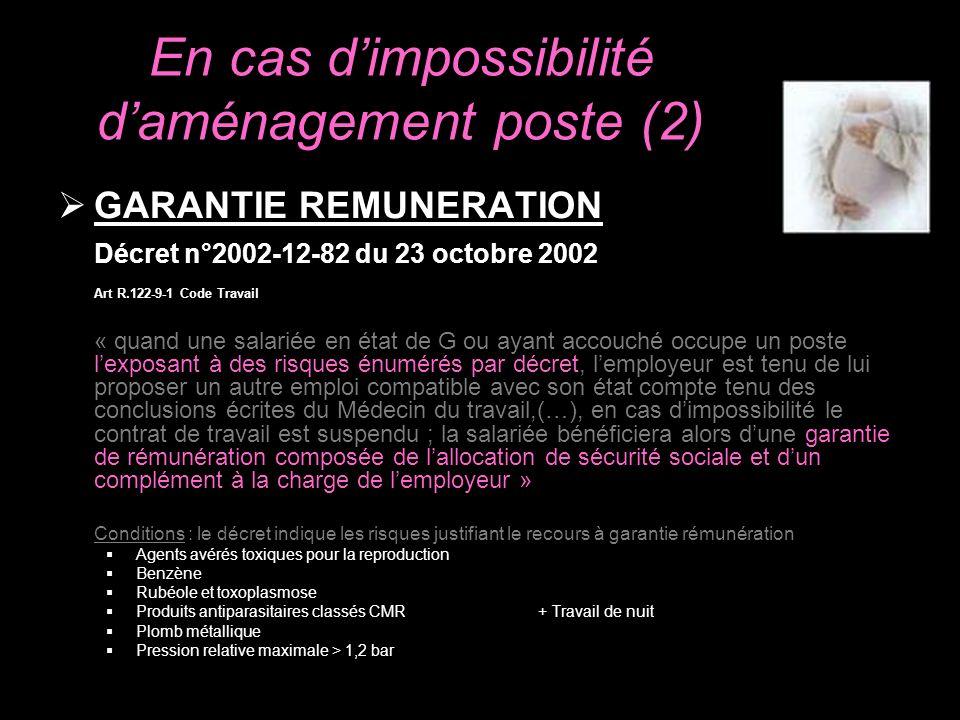 En cas d'impossibilité d'aménagement poste (2)