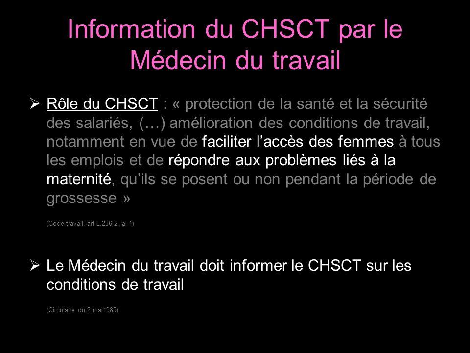 Information du CHSCT par le Médecin du travail