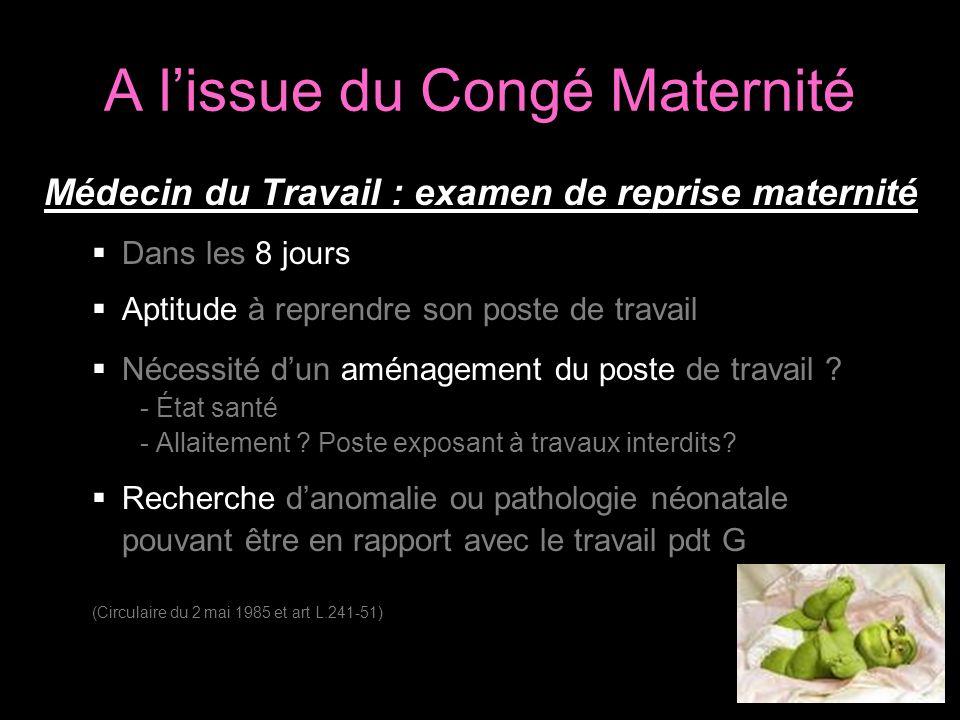 A l'issue du Congé Maternité