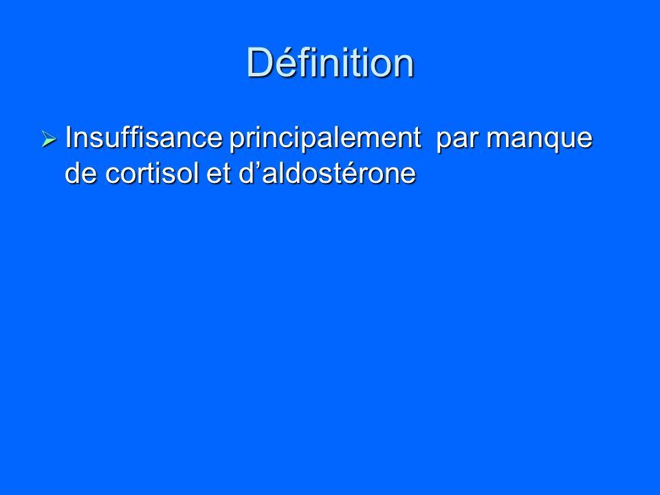Définition Insuffisance principalement par manque de cortisol et d'aldostérone