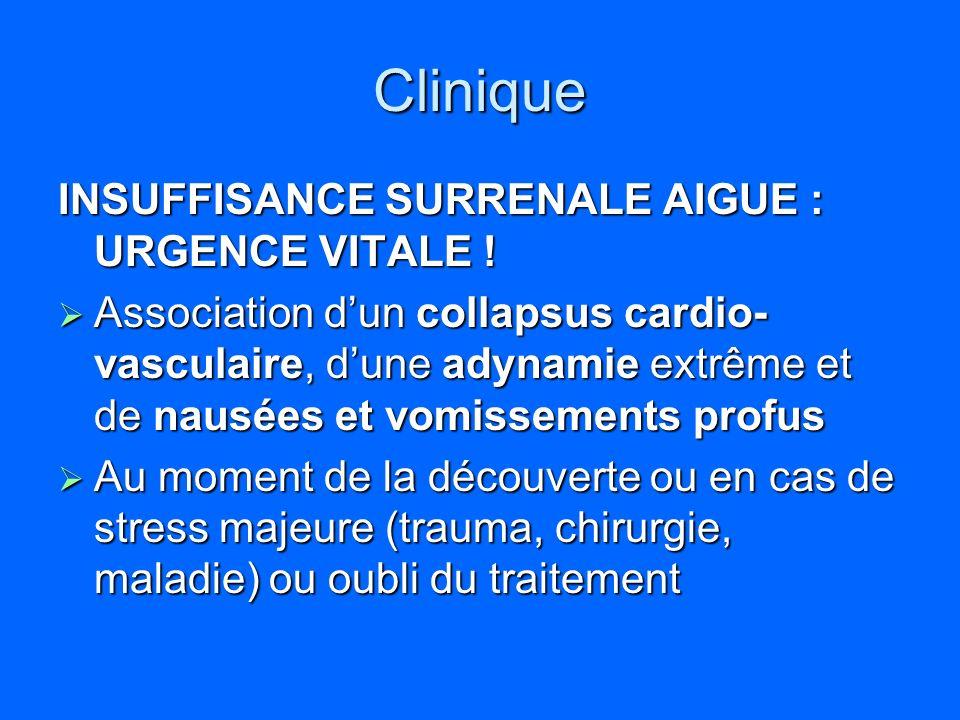 Clinique INSUFFISANCE SURRENALE AIGUE : URGENCE VITALE !