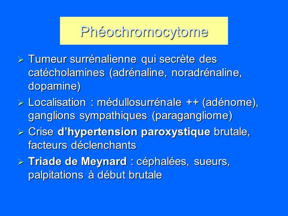 Phéochromocytome Tumeur surrénalienne qui secrète des catécholamines (adrénaline, noradrénaline, dopamine)