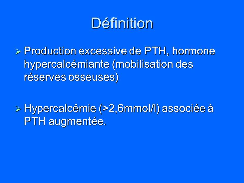 Définition Production excessive de PTH, hormone hypercalcémiante (mobilisation des réserves osseuses)