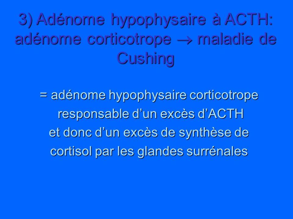 3) Adénome hypophysaire à ACTH: adénome corticotrope  maladie de Cushing