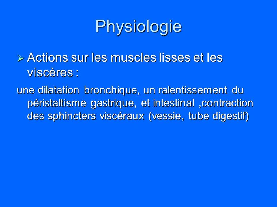 Physiologie Actions sur les muscles lisses et les viscères :