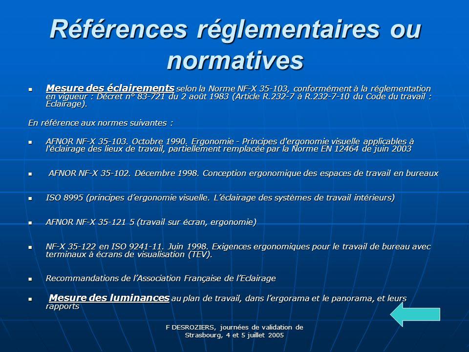 Références réglementaires ou normatives