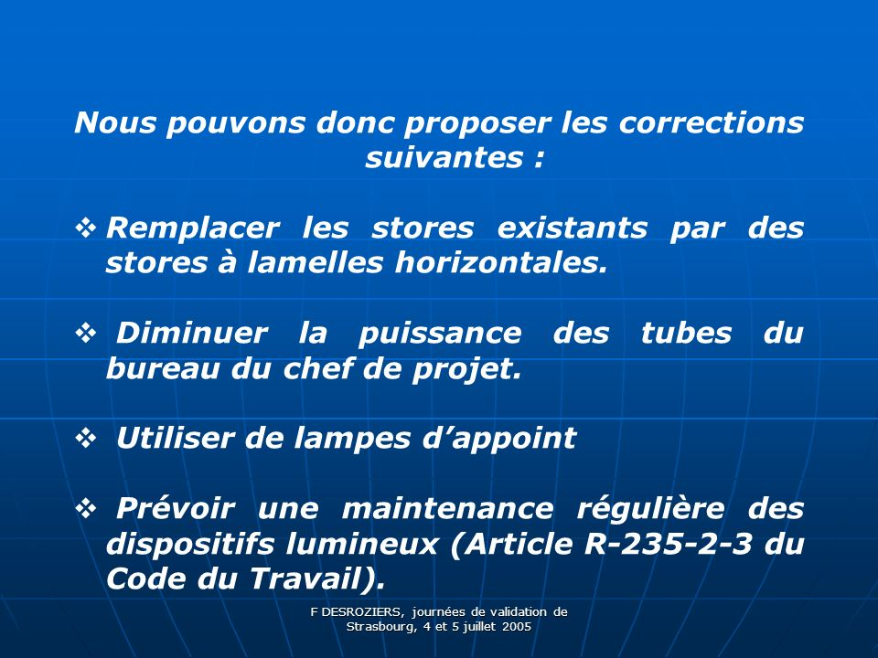 Nous pouvons donc proposer les corrections suivantes :