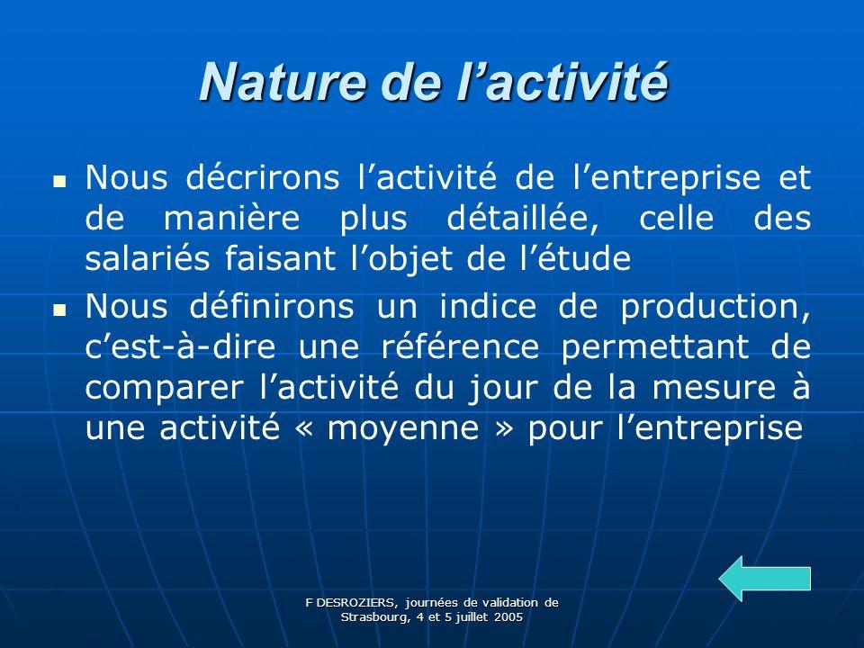 Nature de l'activité Nous décrirons l'activité de l'entreprise et de manière plus détaillée, celle des salariés faisant l'objet de l'étude.