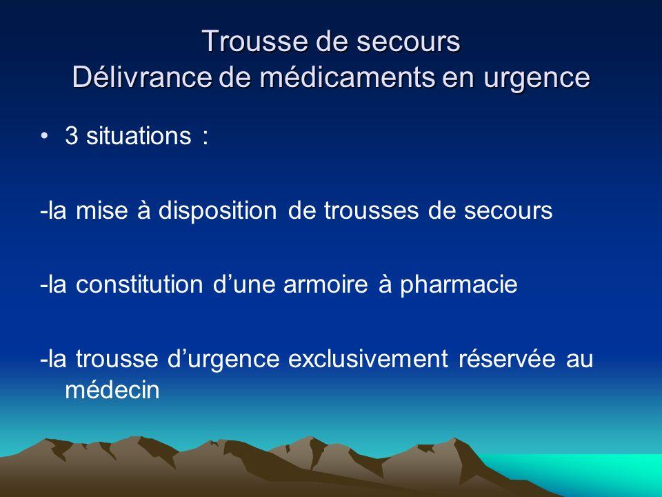 Trousse de secours Délivrance de médicaments en urgence