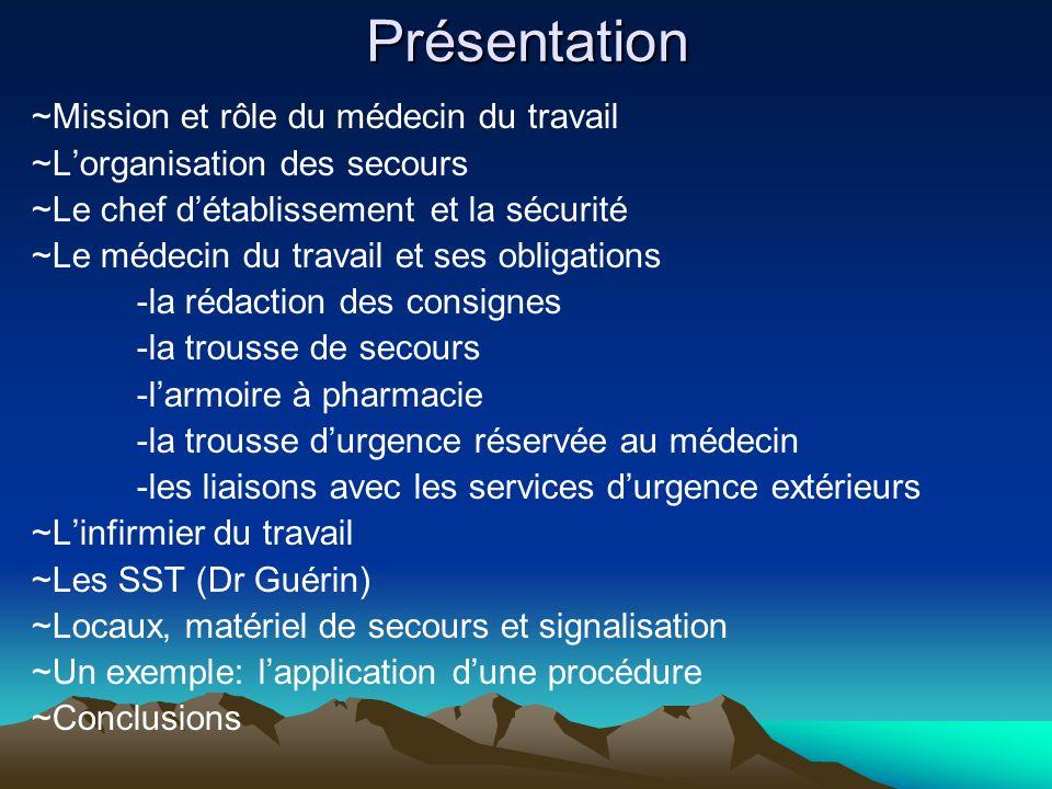 Présentation ~Mission et rôle du médecin du travail