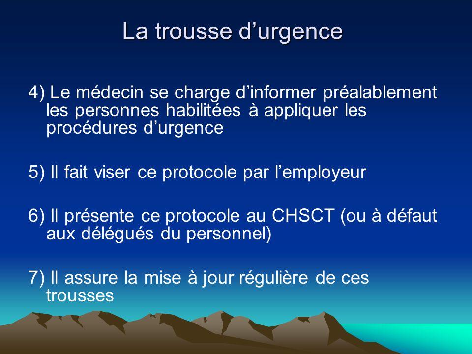 La trousse d'urgence 4) Le médecin se charge d'informer préalablement les personnes habilitées à appliquer les procédures d'urgence.