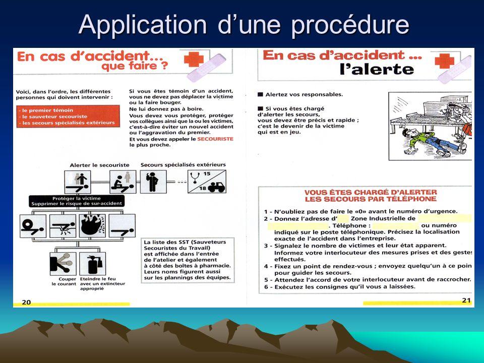 Application d'une procédure