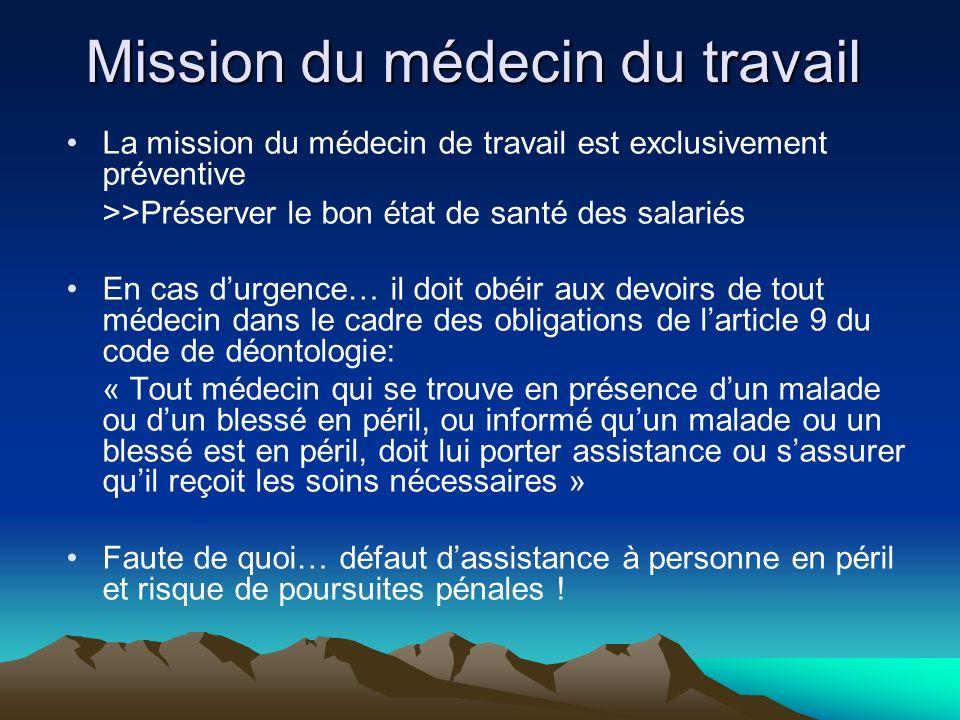 Mission du médecin du travail