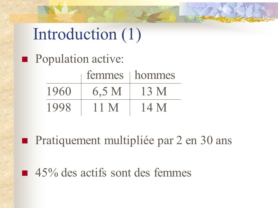 Introduction (1) Population active: femmes hommes 1960 6,5 M 13 M