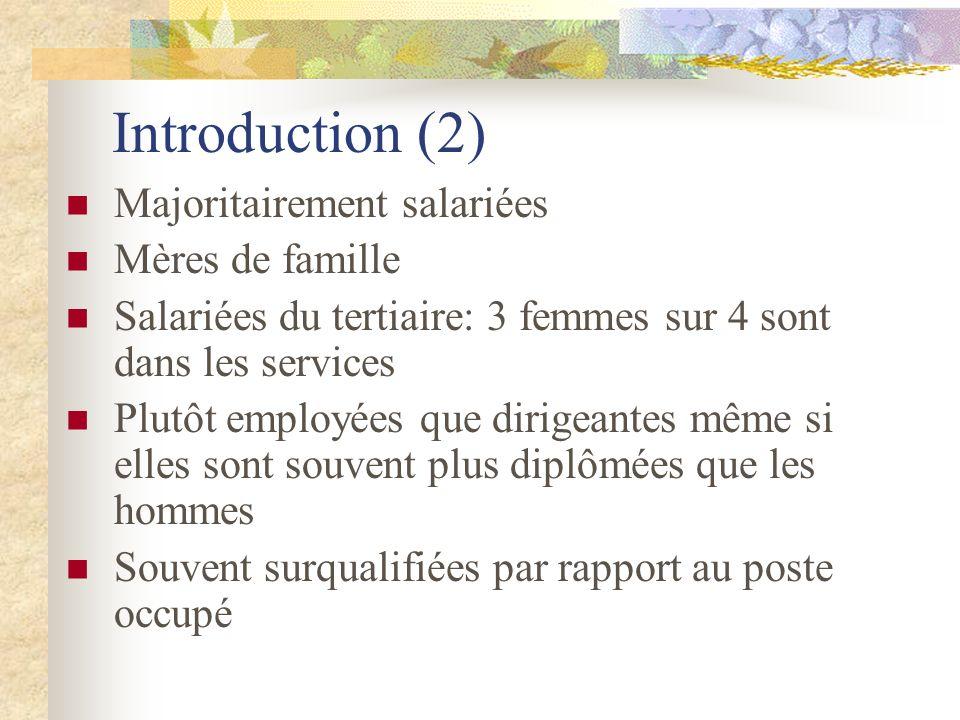 Introduction (2) Majoritairement salariées Mères de famille