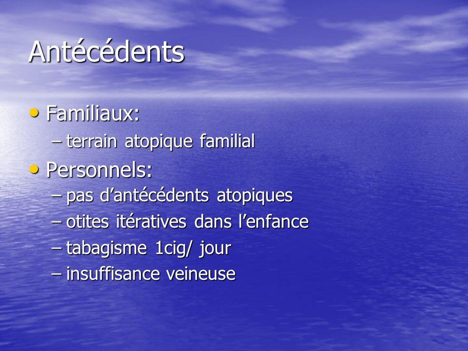 Antécédents Familiaux: Personnels: terrain atopique familial