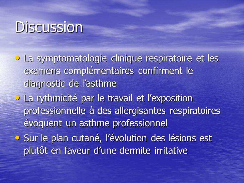 Discussion La symptomatologie clinique respiratoire et les examens complémentaires confirment le diagnostic de l'asthme.