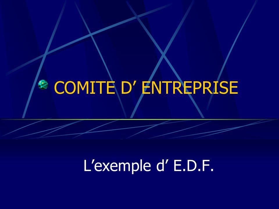 COMITE D' ENTREPRISE L'exemple d' E.D.F.