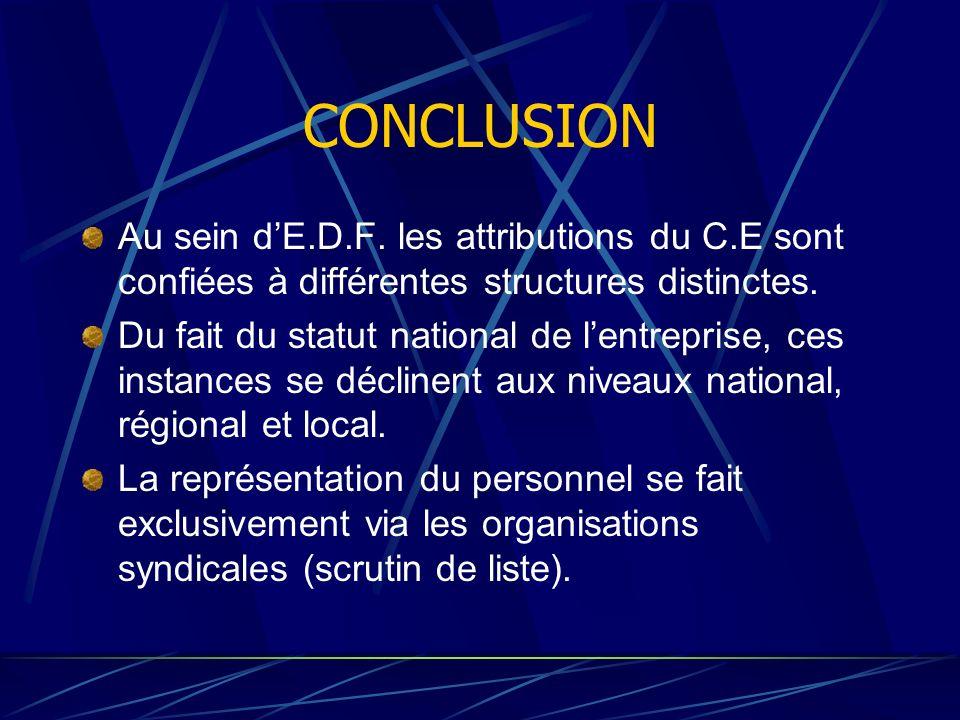 CONCLUSION Au sein d'E.D.F. les attributions du C.E sont confiées à différentes structures distinctes.