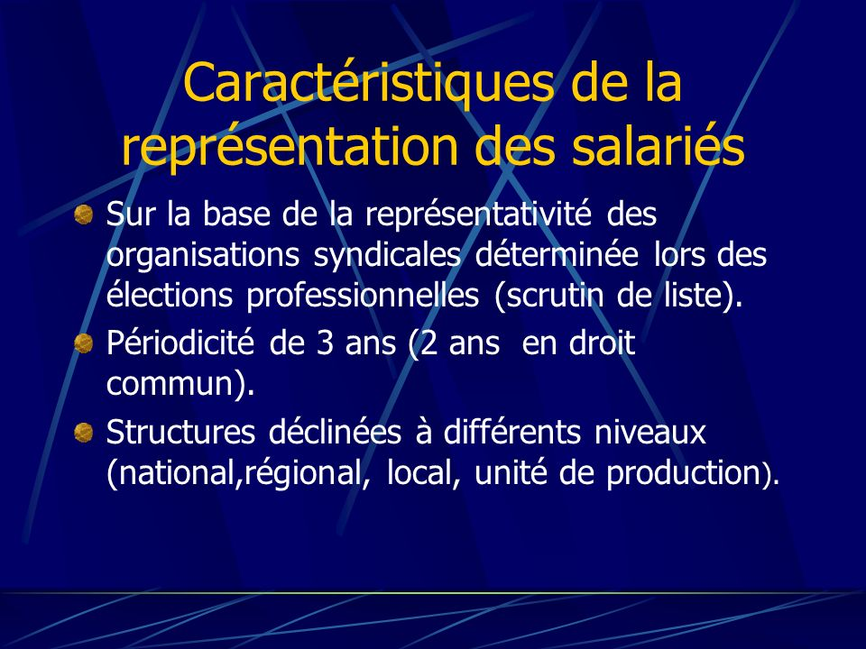 Caractéristiques de la représentation des salariés