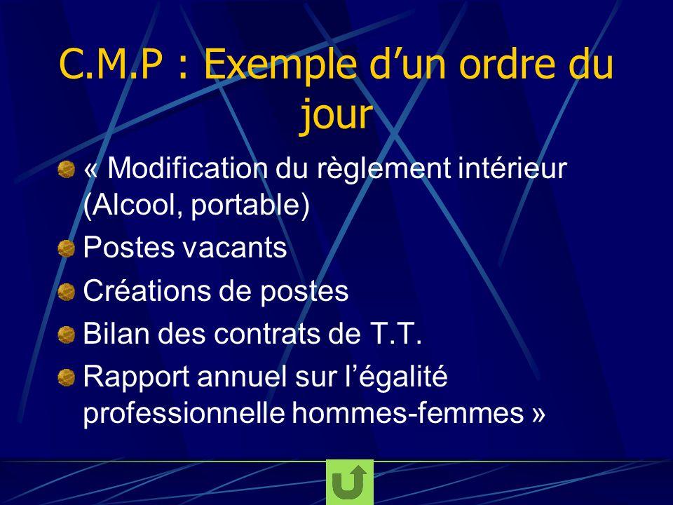 C.M.P : Exemple d'un ordre du jour