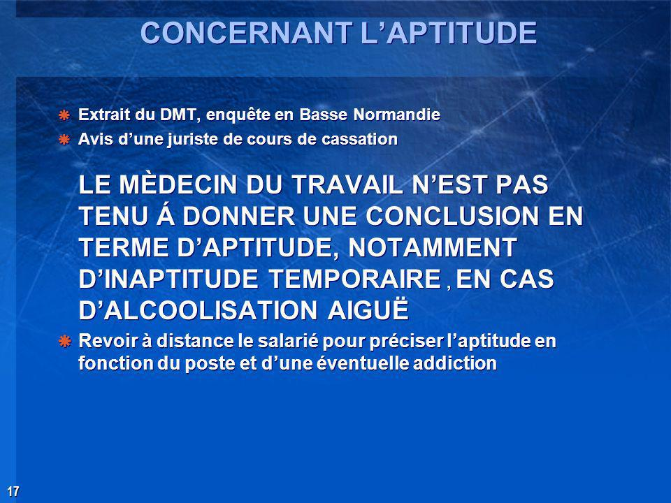 CONCERNANT L'APTITUDE