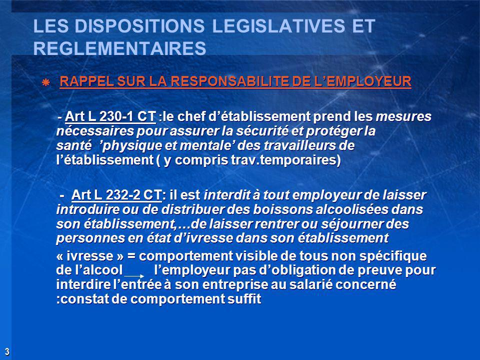 LES DISPOSITIONS LEGISLATIVES ET REGLEMENTAIRES