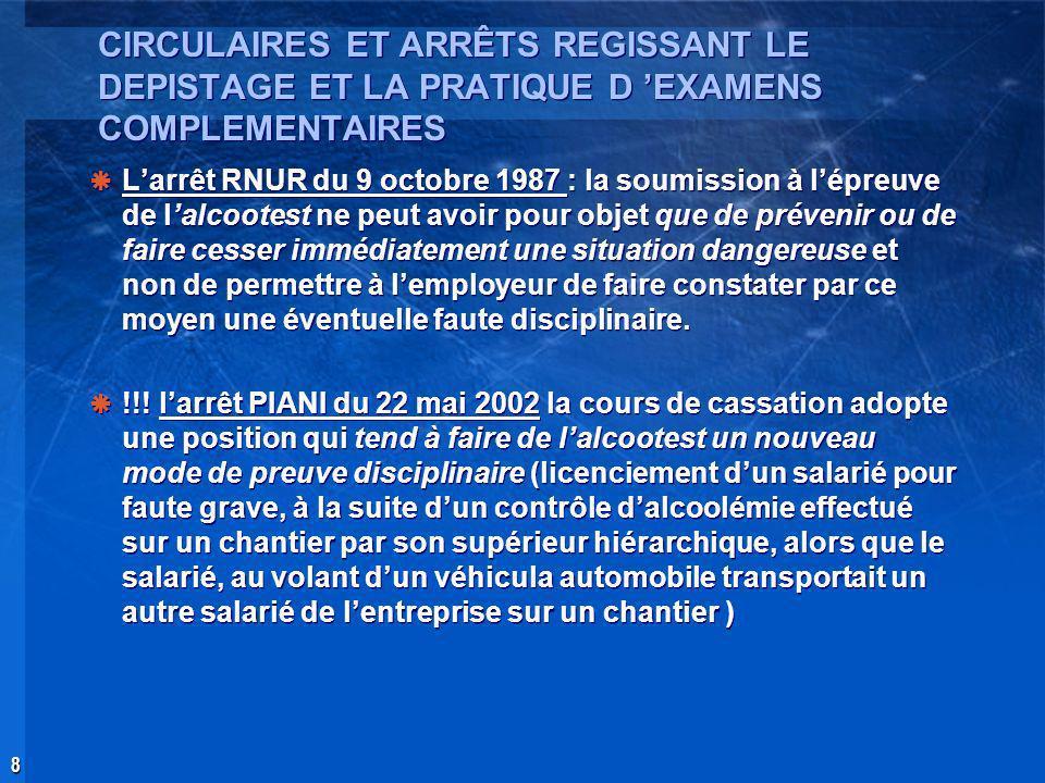 CIRCULAIRES ET ARRÊTS REGISSANT LE DEPISTAGE ET LA PRATIQUE D 'EXAMENS COMPLEMENTAIRES