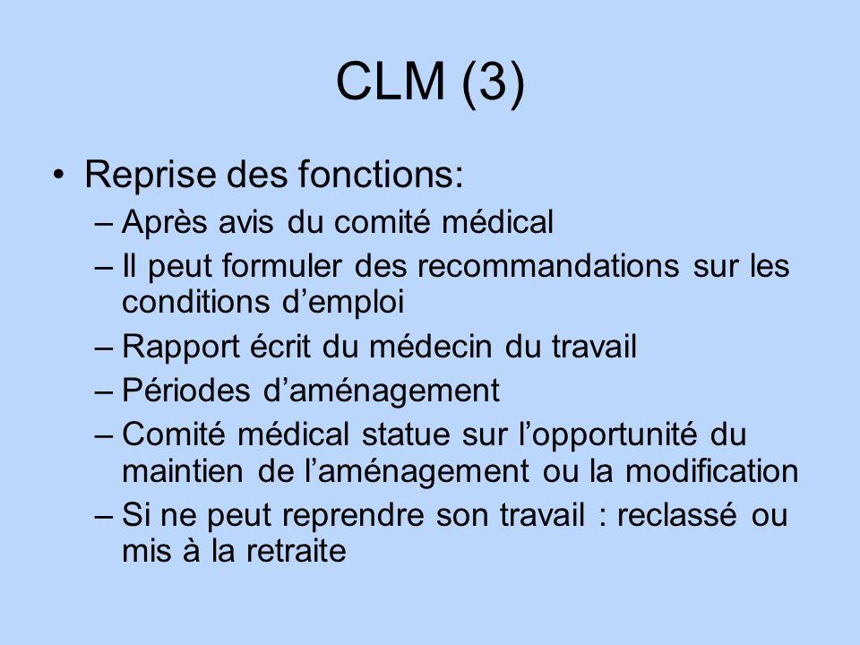 CLM (3) Reprise des fonctions: Après avis du comité médical