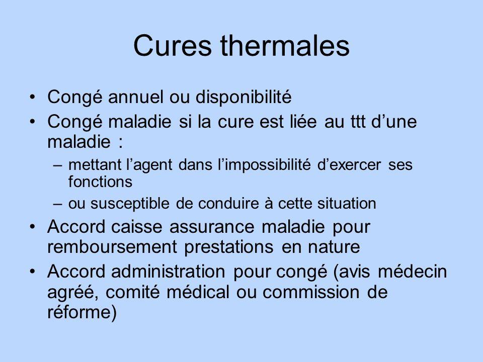 Cures thermales Congé annuel ou disponibilité