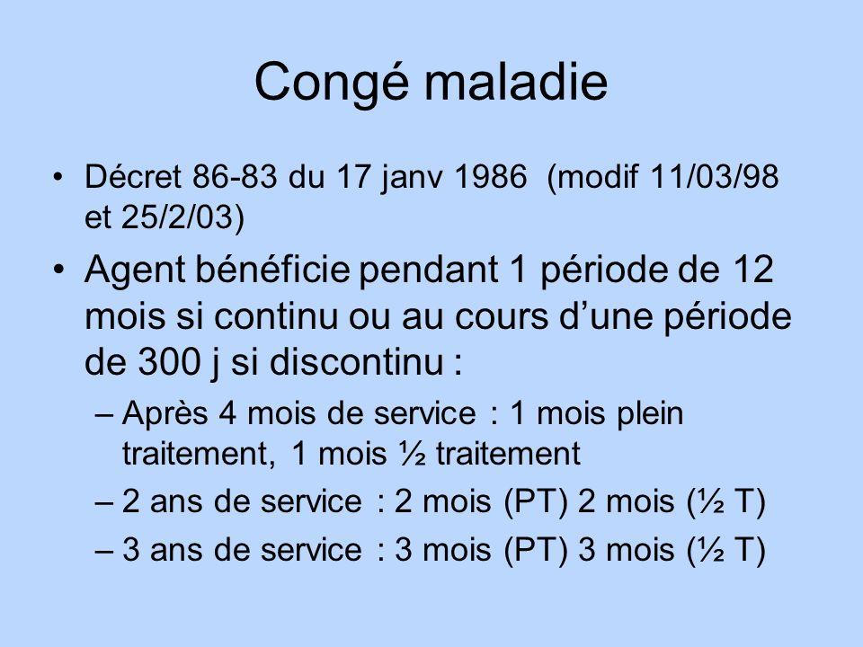 Congé maladie Décret 86-83 du 17 janv 1986 (modif 11/03/98 et 25/2/03)