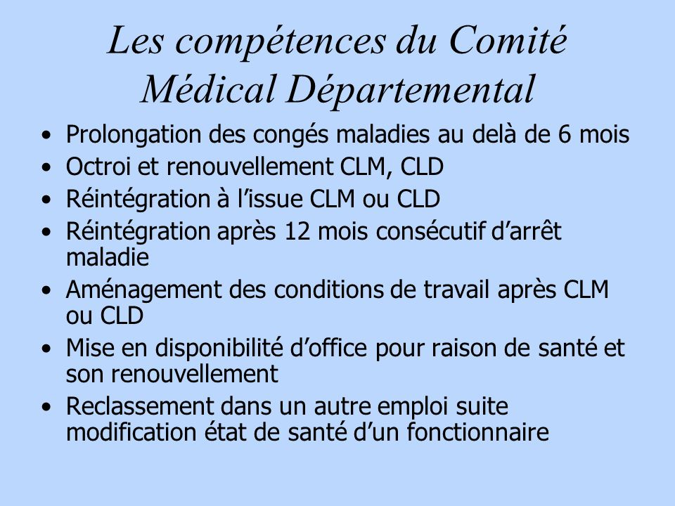 Les compétences du Comité Médical Départemental