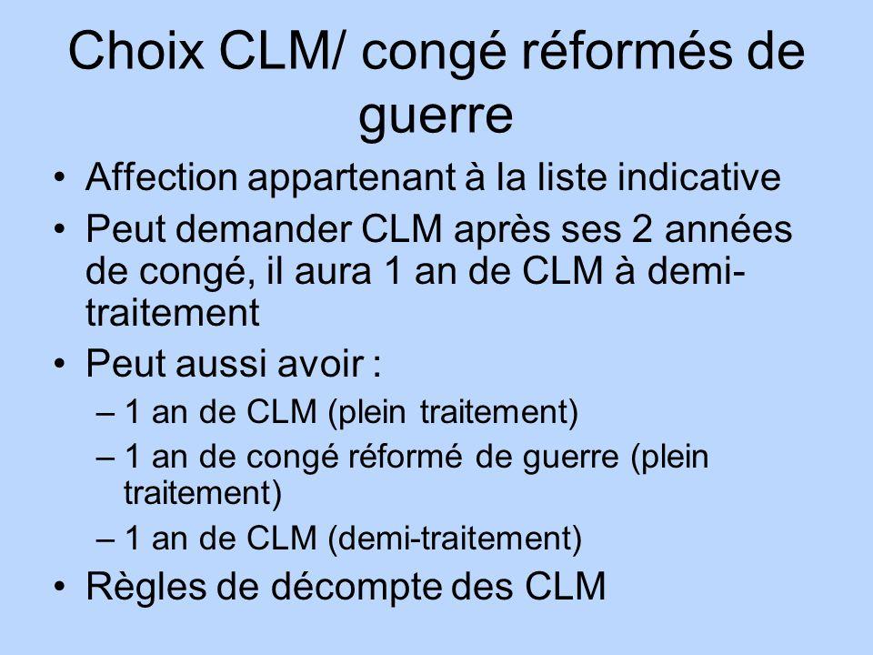 Choix CLM/ congé réformés de guerre