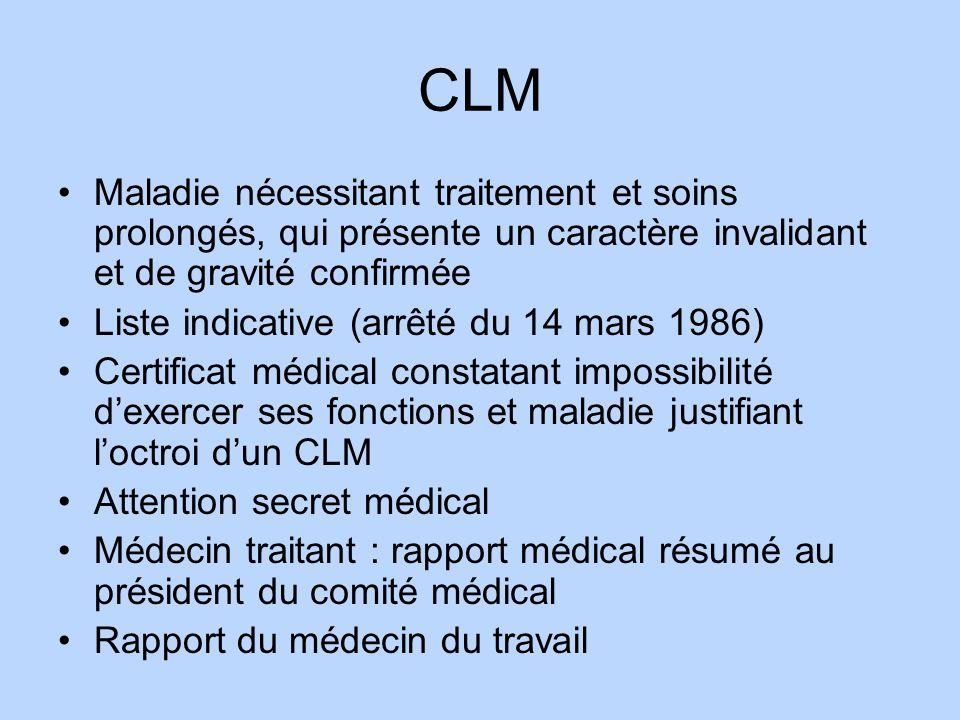 CLM Maladie nécessitant traitement et soins prolongés, qui présente un caractère invalidant et de gravité confirmée.