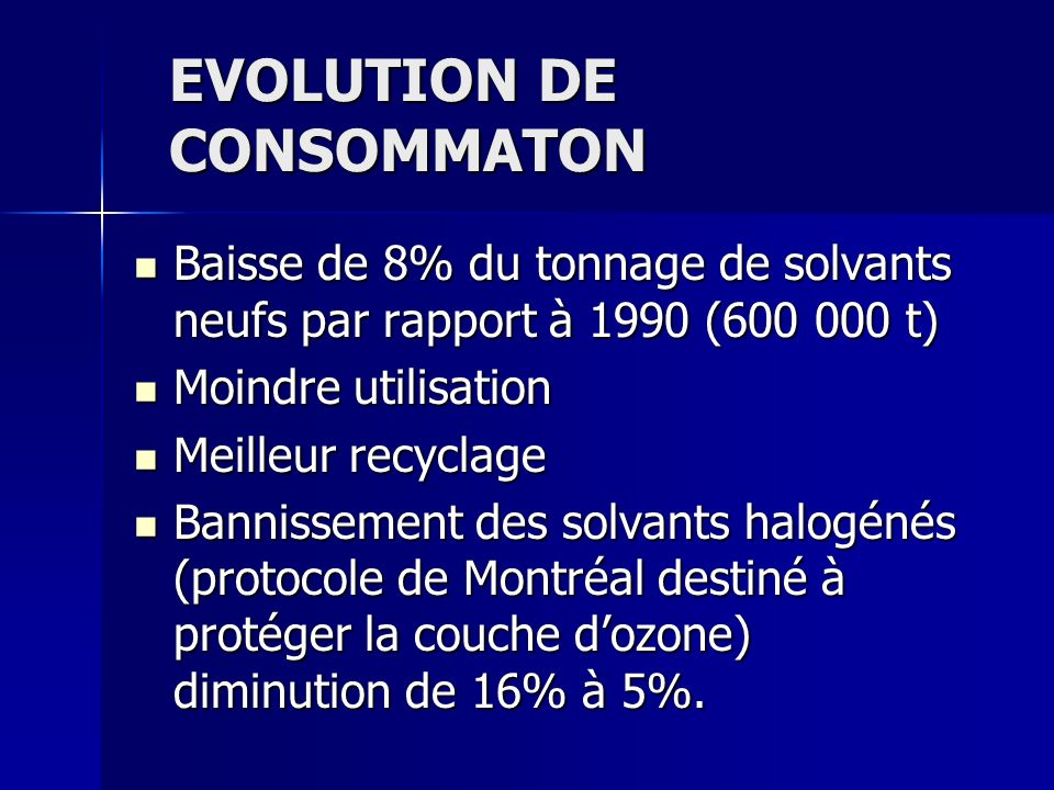EVOLUTION DE CONSOMMATON